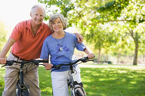 Seniors with Mobile Medical Alert Biking.